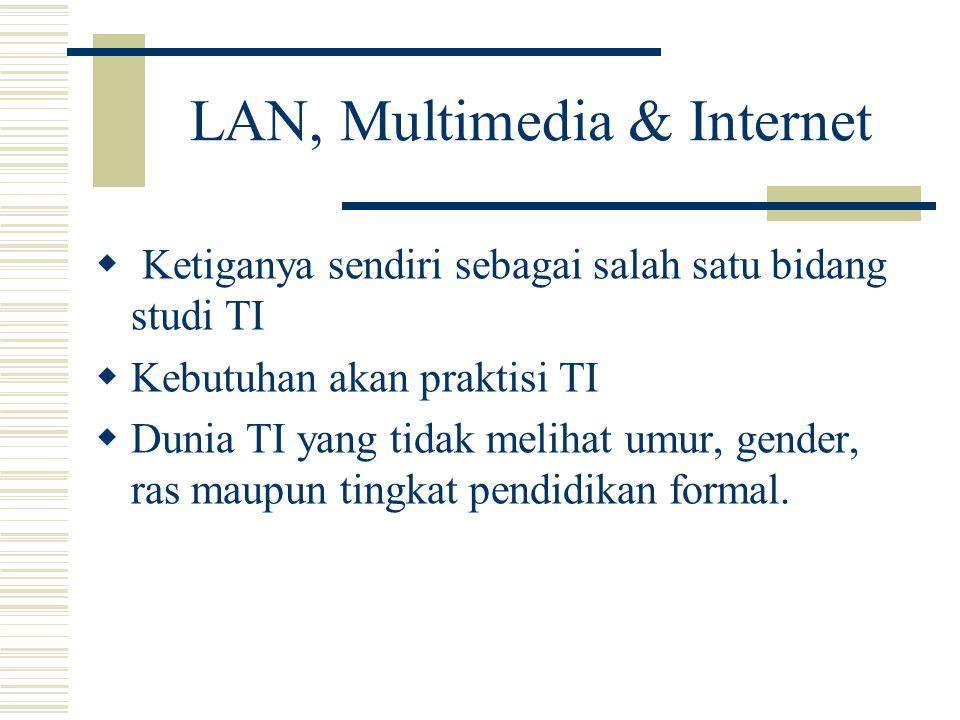 LAN, Multimedia & Internet  Ketiganya sendiri sebagai salah satu bidang studi TI  Kebutuhan akan praktisi TI  Dunia TI yang tidak melihat umur, gender, ras maupun tingkat pendidikan formal.