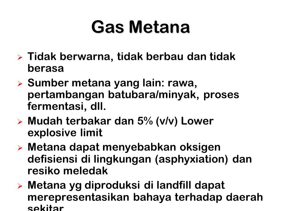 Properti Gas Metana Formula Molekul: CH 4 Nilai panas: 2350 J/g Kelarutan dalam air: 17 mg/L Ratio O 2 :CH 4 untuk terjadinya pembakaran: 2