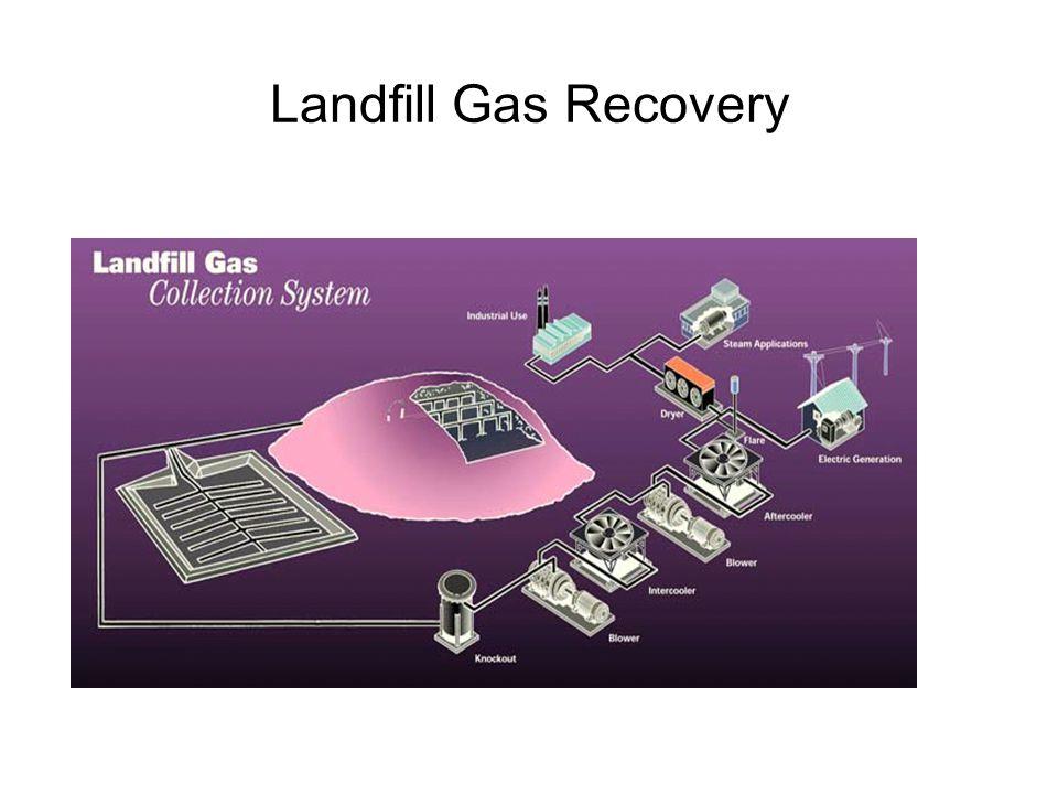 Landfill gas dikumpulkan melalui sumur pengumpul vertikal (dan horizontal) yang ditanam ke dalam timbunan sampah (~1 per hektar) Gas yang tidak berman