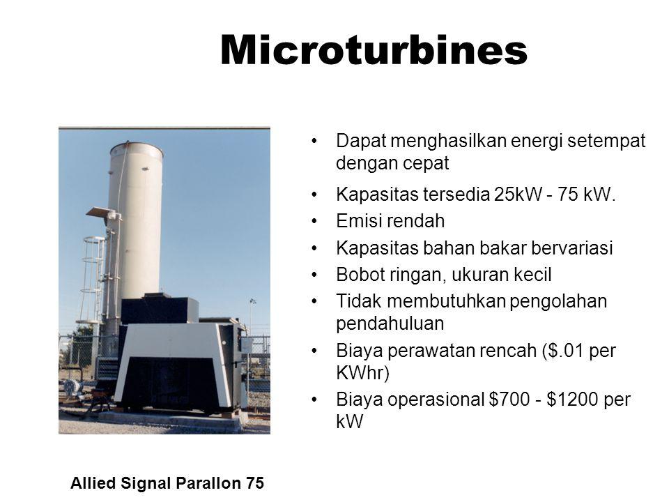Fuel Cells Secara kimia mengkonversi gas menjadi listrik Efisiensi tinggi Minimum emisi Biaya tinggi Approximately $3,000 per kW Northeast Utilities 2
