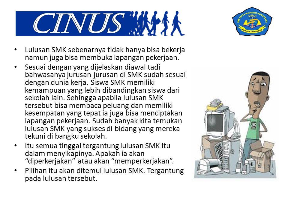 Lulusan SMK sebenarnya tidak hanya bisa bekerja namun juga bisa membuka lapangan pekerjaan.