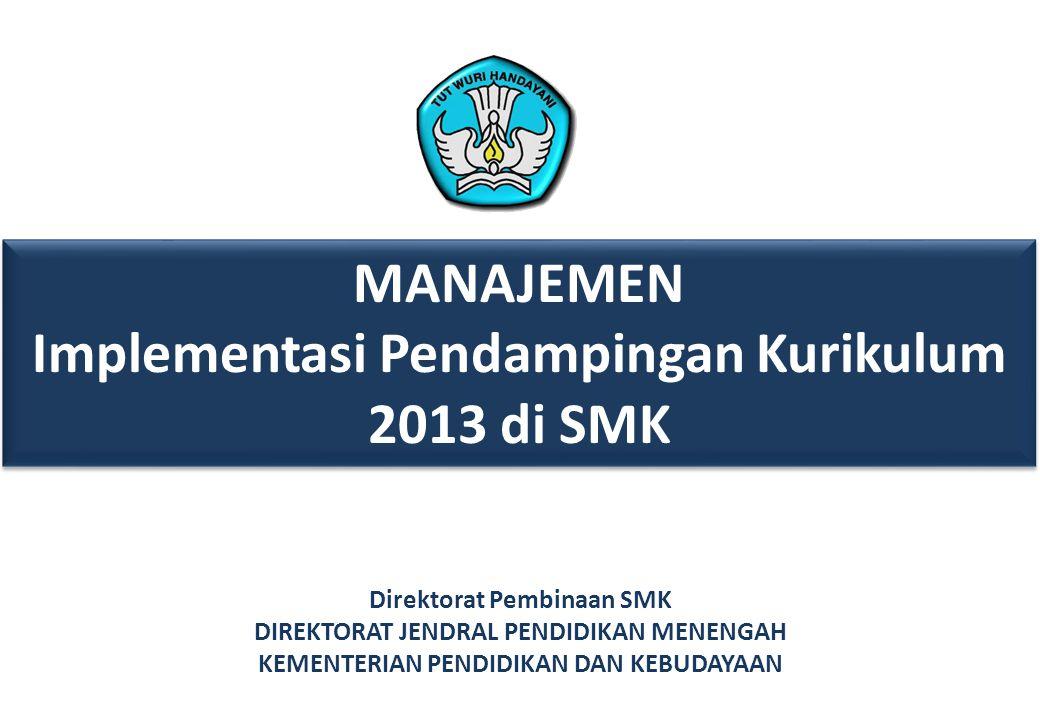 MANAJEMEN Implementasi Pendampingan Kurikulum 2013 di SMK MANAJEMEN Implementasi Pendampingan Kurikulum 2013 di SMK Direktorat Pembinaan SMK DIREKTORAT JENDRAL PENDIDIKAN MENENGAH KEMENTERIAN PENDIDIKAN DAN KEBUDAYAAN