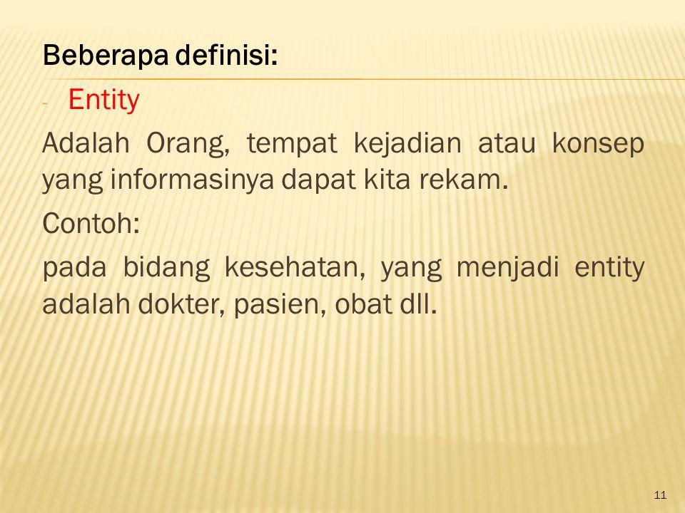 11 Beberapa definisi: - Entity Adalah Orang, tempat kejadian atau konsep yang informasinya dapat kita rekam. Contoh: pada bidang kesehatan, yang menja