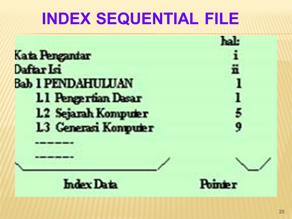 23 INDEX SEQUENTIAL FILE
