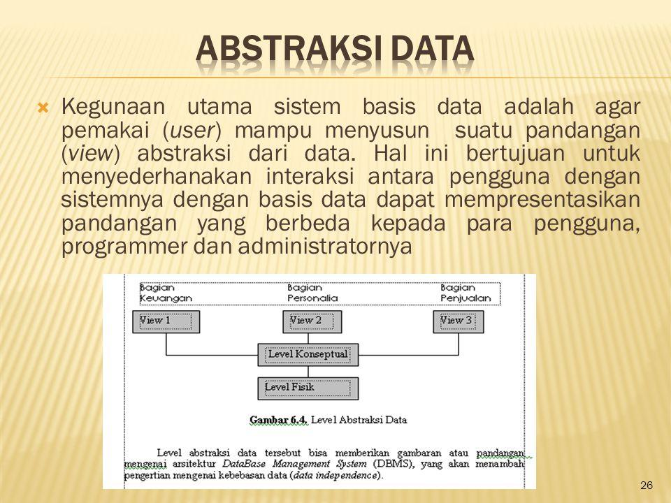  Kegunaan utama sistem basis data adalah agar pemakai (user) mampu menyusun suatu pandangan (view) abstraksi dari data. Hal ini bertujuan untuk menye