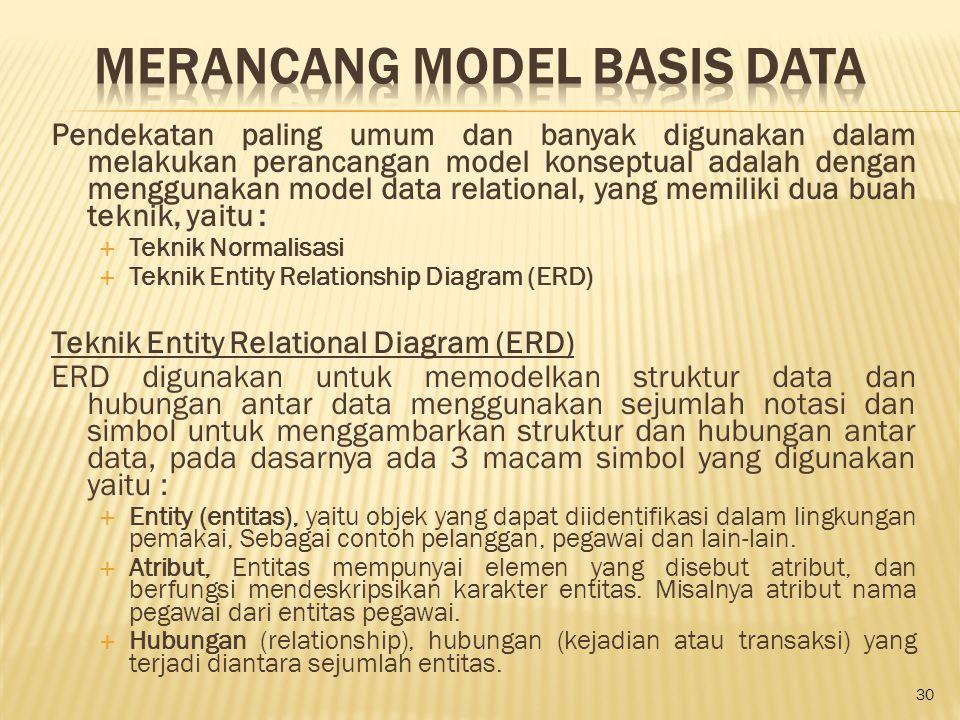 Pendekatan paling umum dan banyak digunakan dalam melakukan perancangan model konseptual adalah dengan menggunakan model data relational, yang memilik