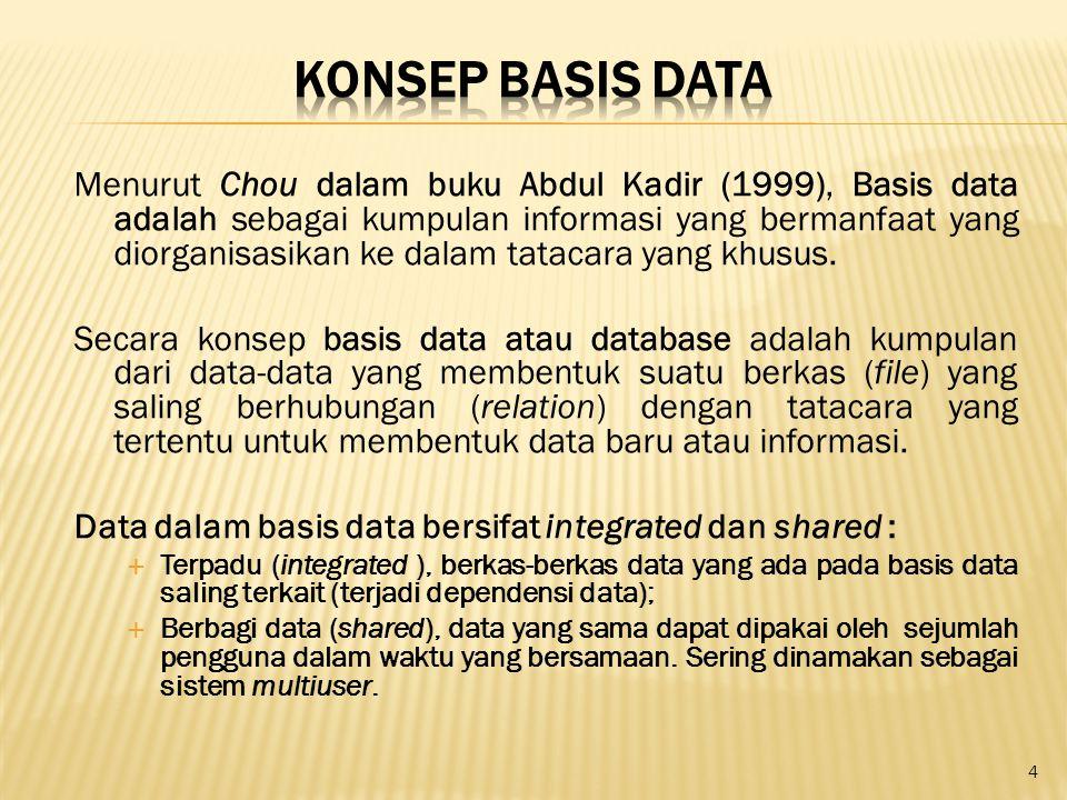 Menurut Chou dalam buku Abdul Kadir (1999), Basis data adalah sebagai kumpulan informasi yang bermanfaat yang diorganisasikan ke dalam tatacara yang k