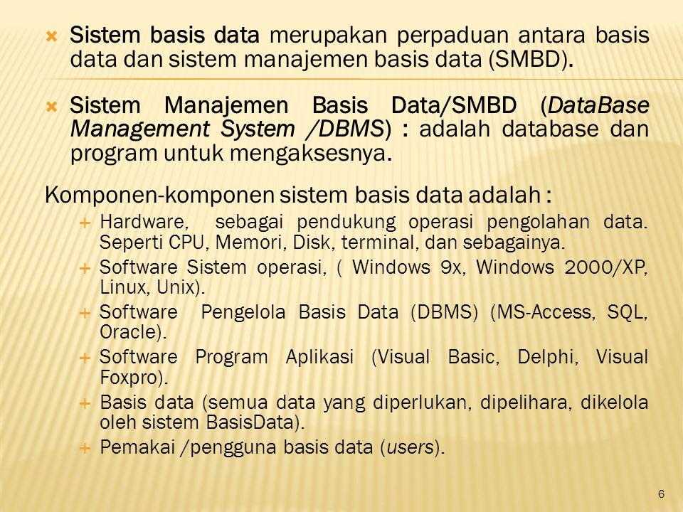  Sistem basis data merupakan perpaduan antara basis data dan sistem manajemen basis data (SMBD).  Sistem Manajemen Basis Data/SMBD (DataBase Managem