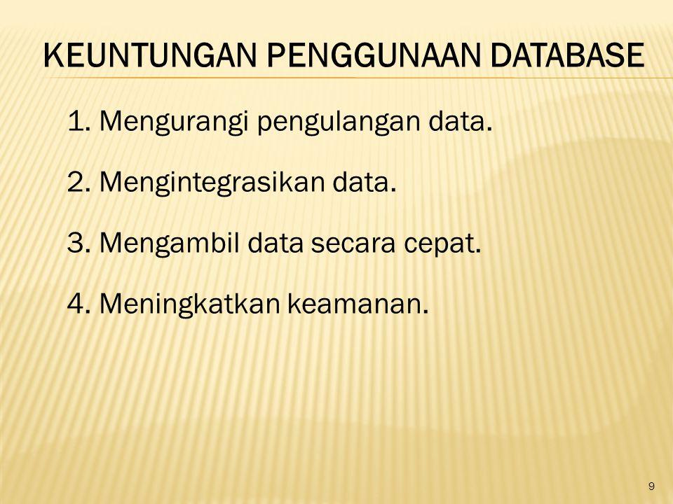 9 KEUNTUNGAN PENGGUNAAN DATABASE 1. Mengurangi pengulangan data. 2. Mengintegrasikan data. 3. Mengambil data secara cepat. 4. Meningkatkan keamanan.