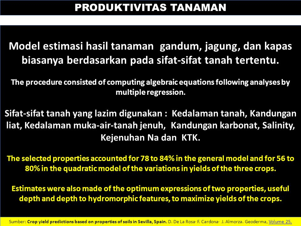 PRODUKTIVITAS TANAMAN Sumber: Crop yield predictions based on properties of soils in Sevilla, Spain. D. De La Rosa, F. Cardona, J. Almorza. Geoderma,