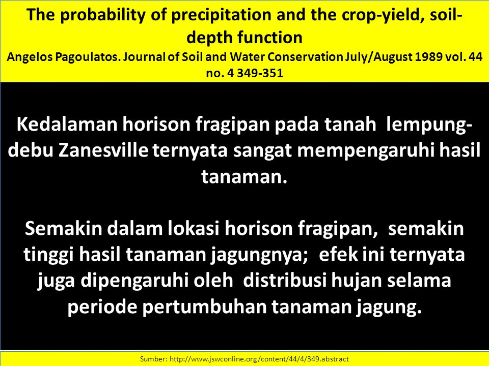 The probability of precipitation and the crop-yield, soil- depth function Angelos Pagoulatos. Journal of Soil and Water Conservation July/August 1989