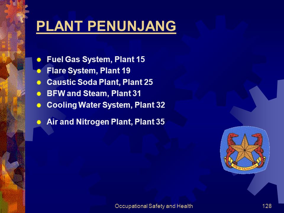 Occupational Safety and Health127 IKHTISAR KILANG KILANG BALIKPAPAN I  Crude Distillation Unit  Unit Penyulingan Hampa (HVU III)  Wax Plant  Dehyd
