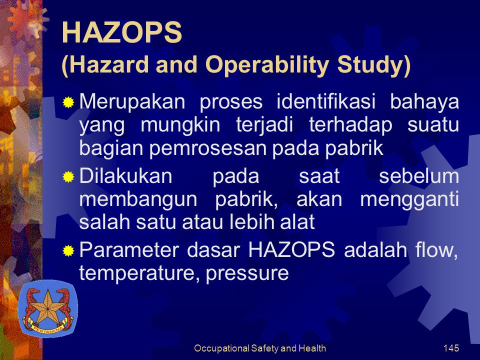 Occupational Safety and Health144 Kebakaran Tangki terbakar dan meledak SevereUnlikely  Fire alarn  Fire extinguisher  water sprinkle KorosiKebocoranMajorLikely  Corrosion inhibitor  maintanance secara berkala 2 Tempat meletakkan kumpulan pipa Pipe- rack Pondasi piperack rubuh karena korosi Pipa-pipa berjatuh-an MajorUnlikely  Pengecekan berkala  Renovasi piperack Keba-karan Pipa terbakar MajorUnlikely  Fire alarn  Fire extinguisher  water sprinkle