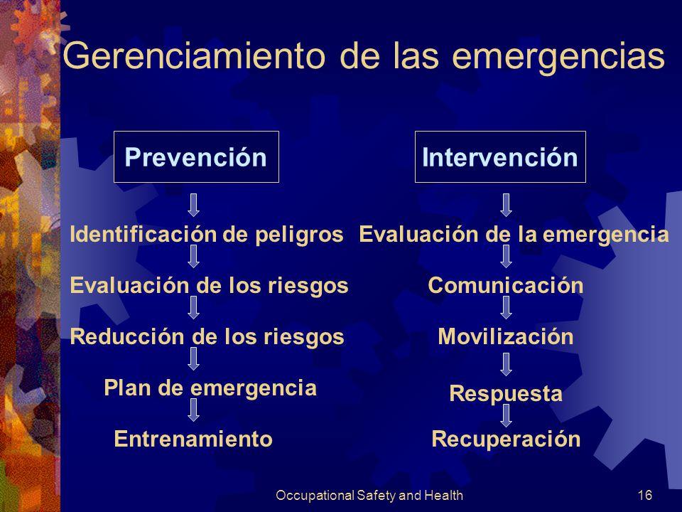 Occupational Safety and Health15 Gerenciamiento de los riesgos Emergencia PrevenciónProtección Reducción de las frecuencias Reducción de las consecuencias Gerenciamiento de los riesgos