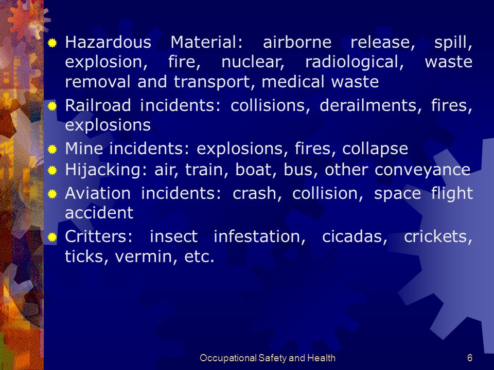 Occupational Safety and Health46 H AZARD A NALYSIS