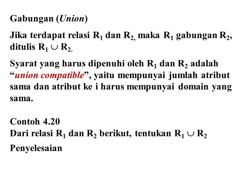 "Gabungan (Union) Jika terdapat relasi R 1 dan R 2, maka R 1 gabungan R 2, ditulis R 1  R 2. Syarat yang harus dipenuhi oleh R 1 dan R 2 adalah ""union"