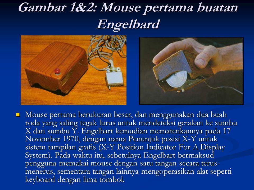 Gambar 1&2: Mouse pertama buatan Engelbard Mouse pertama berukuran besar, dan menggunakan dua buah roda yang saling tegak lurus untuk mendeteksi gerak