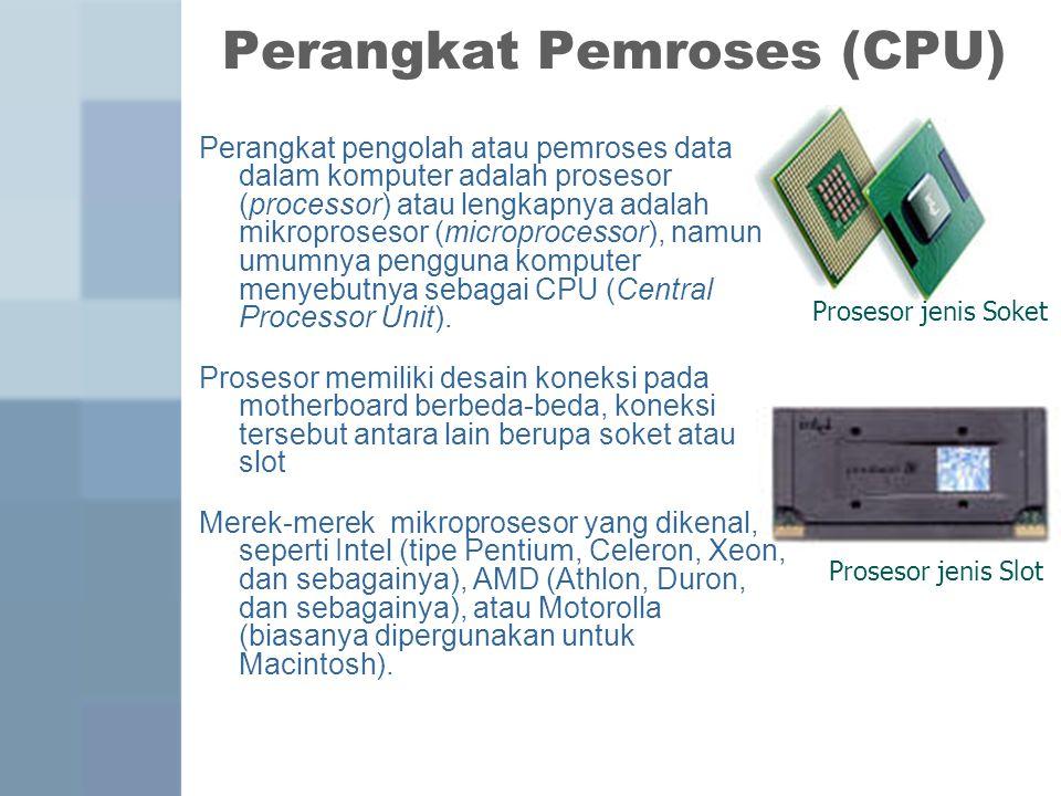 Perangkat Pemroses (CPU) Perangkat pengolah atau pemroses data dalam komputer adalah prosesor (processor) atau lengkapnya adalah mikroprosesor (microprocessor), namun umumnya pengguna komputer menyebutnya sebagai CPU (Central Processor Unit).