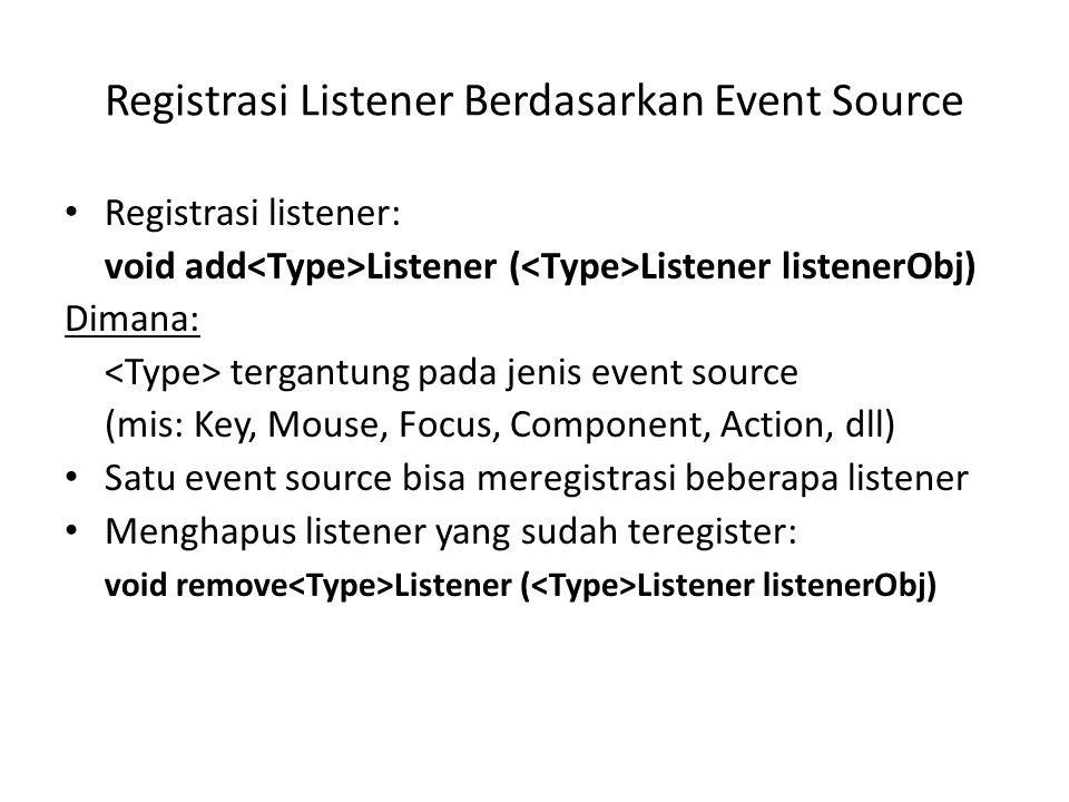 Registrasi Listener Berdasarkan Event Source Registrasi listener: void add Listener ( Listener listenerObj) Dimana: tergantung pada jenis event source (mis: Key, Mouse, Focus, Component, Action, dll) Satu event source bisa meregistrasi beberapa listener Menghapus listener yang sudah teregister: void remove Listener ( Listener listenerObj)