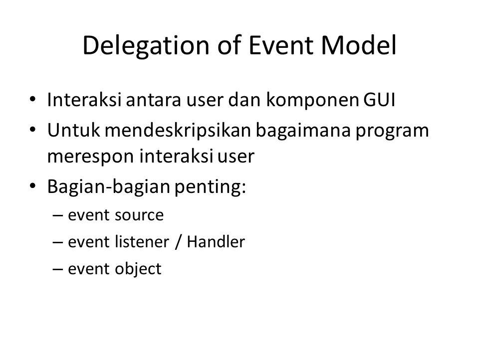 Delegation of Event Model Interaksi antara user dan komponen GUI Untuk mendeskripsikan bagaimana program merespon interaksi user Bagian-bagian penting: – event source – event listener / Handler – event object