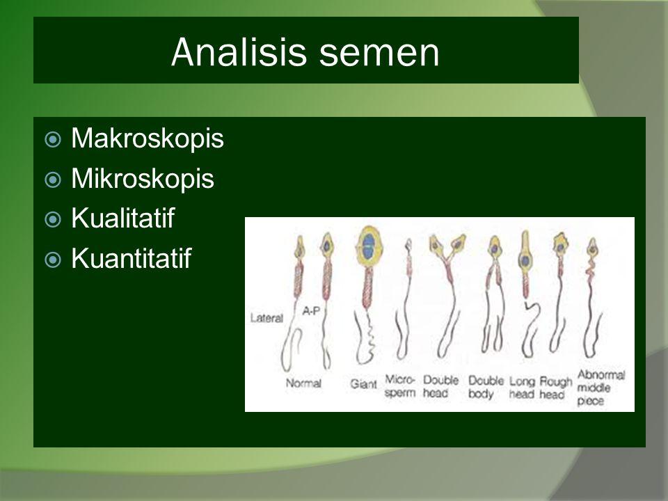 Analisis semen  Makroskopis  Mikroskopis  Kualitatif  Kuantitatif