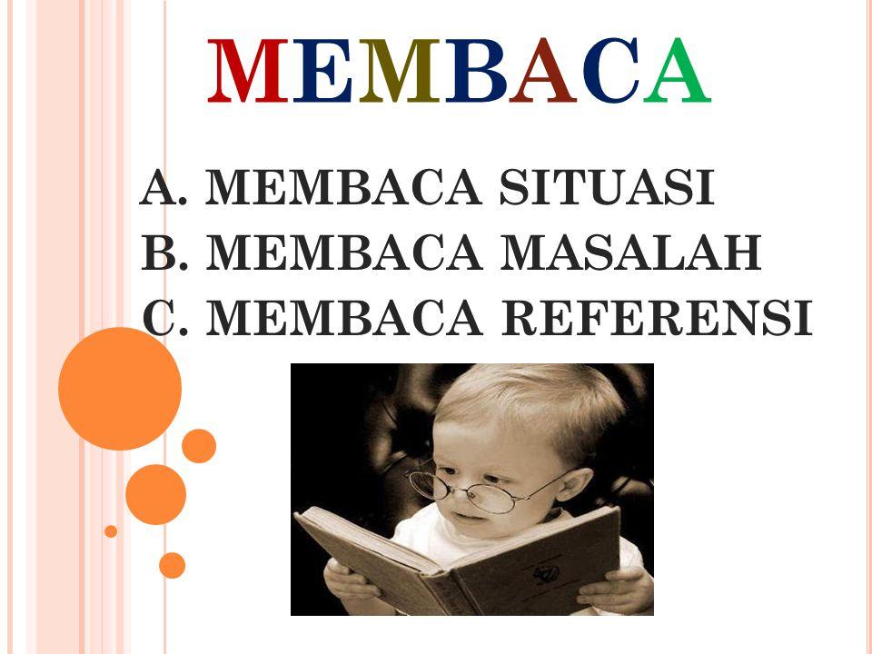 MEMBACAMEMBACA A. MEMBACA SITUASI B. MEMBACA MASALAH C. MEMBACA REFERENSI