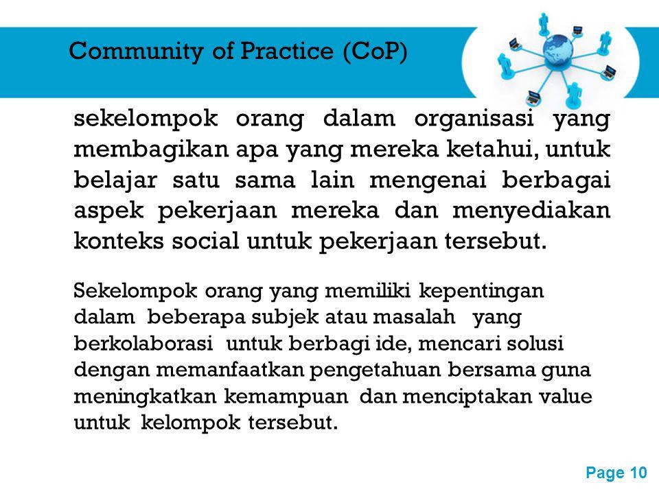 Free Powerpoint Templates Page 10 Community of Practice (CoP) sekelompok orang dalam organisasi yang membagikan apa yang mereka ketahui, untuk belajar