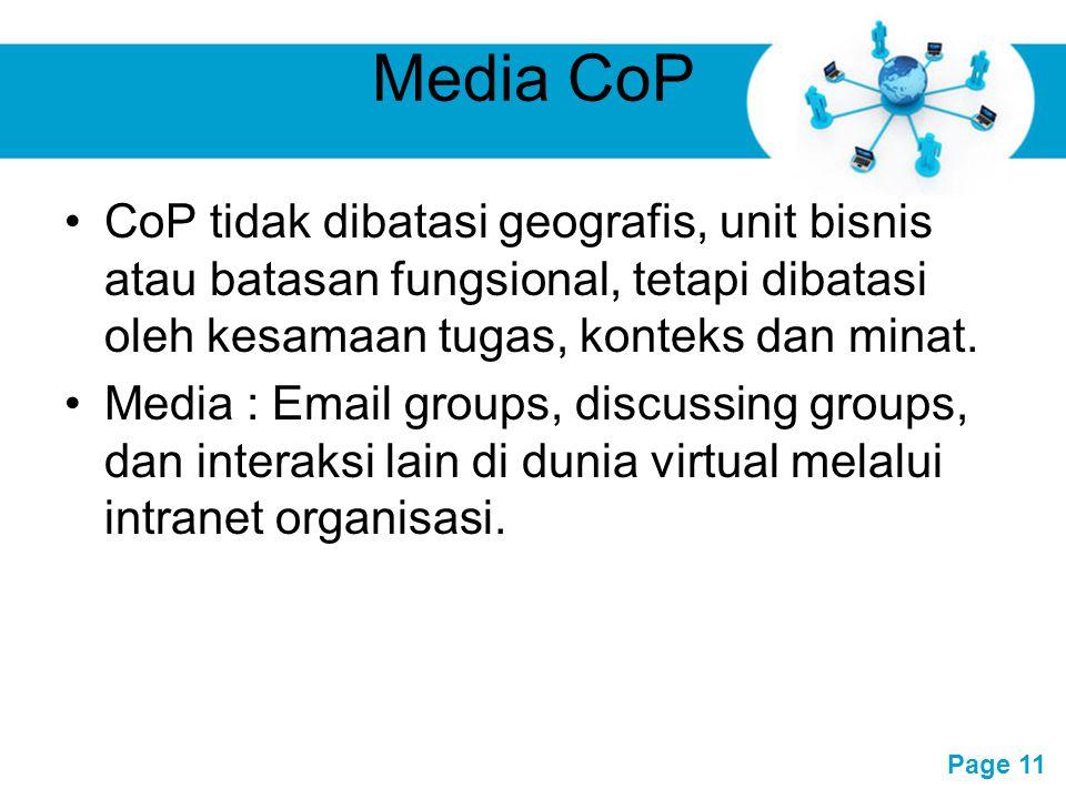 Free Powerpoint Templates Page 11 Media CoP CoP tidak dibatasi geografis, unit bisnis atau batasan fungsional, tetapi dibatasi oleh kesamaan tugas, ko