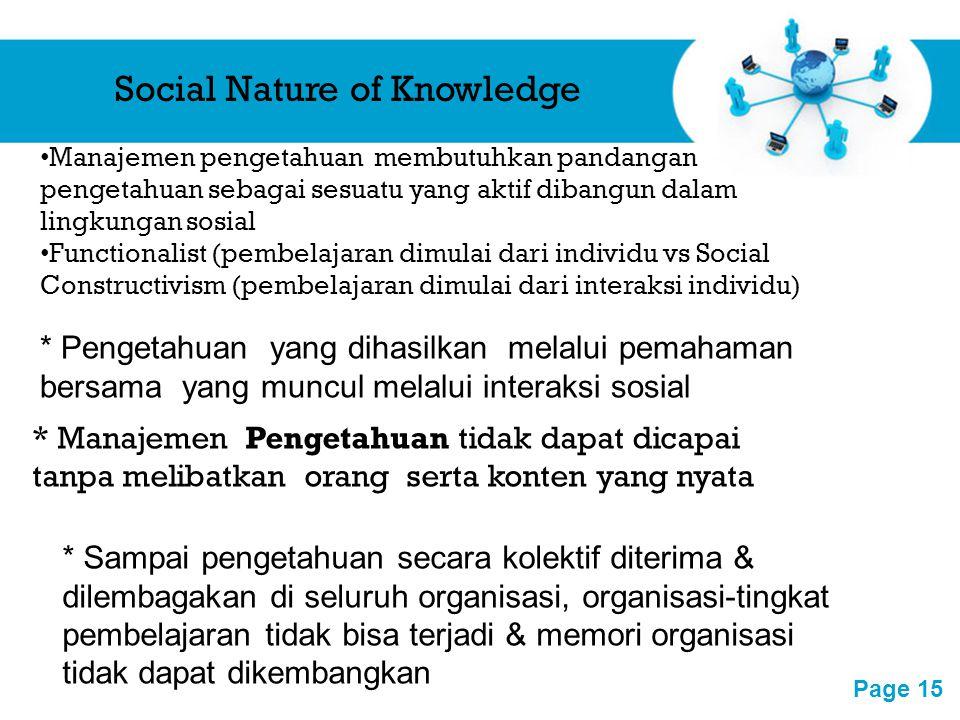 Free Powerpoint Templates Page 15 Social Nature of Knowledge Manajemen pengetahuan membutuhkan pandangan pengetahuan sebagai sesuatu yang aktif dibang