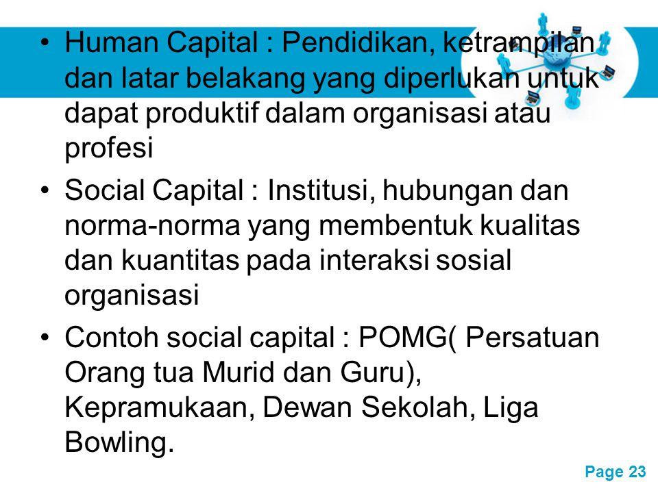 Free Powerpoint Templates Page 23 Human Capital : Pendidikan, ketrampilan dan latar belakang yang diperlukan untuk dapat produktif dalam organisasi at