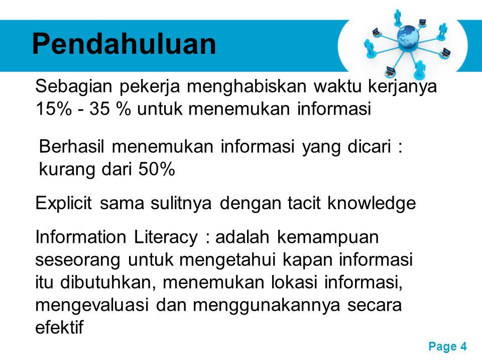 Free Powerpoint Templates Page 4 Pendahuluan Sebagian pekerja menghabiskan waktu kerjanya 15% - 35 % untuk menemukan informasi Berhasil menemukan info
