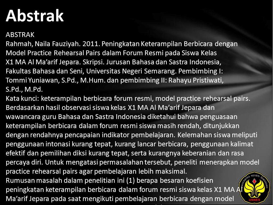 Abstrak ABSTRAK Rahmah, Naila Fauziyah. 2011.