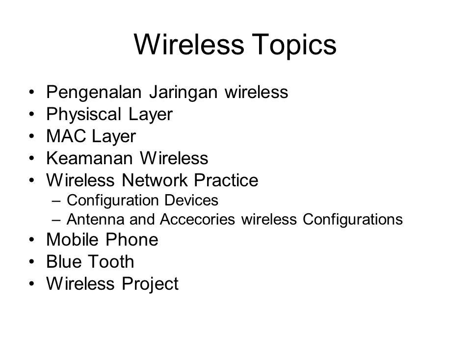 Wireless Topics Pengenalan Jaringan wireless Physiscal Layer MAC Layer Keamanan Wireless Wireless Network Practice –Configuration Devices –Antenna and