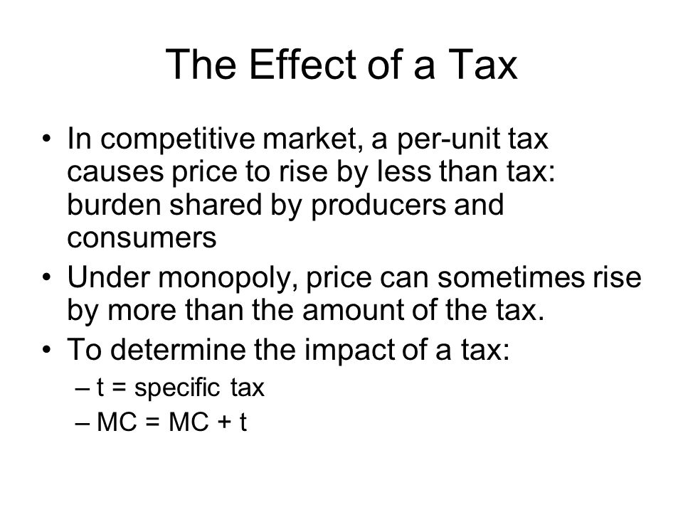The Effect of a Tax In competitive market, a per-unit tax causes price to rise by less than tax: burden shared by producers and consumers Under monopo