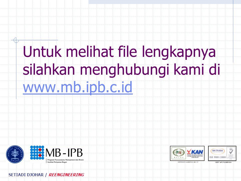 SETIADI DJOHAR / REENGINEERING Untuk melihat file lengkapnya silahkan menghubungi kami di www.mb.ipb.c.id www.mb.ipb.c.id