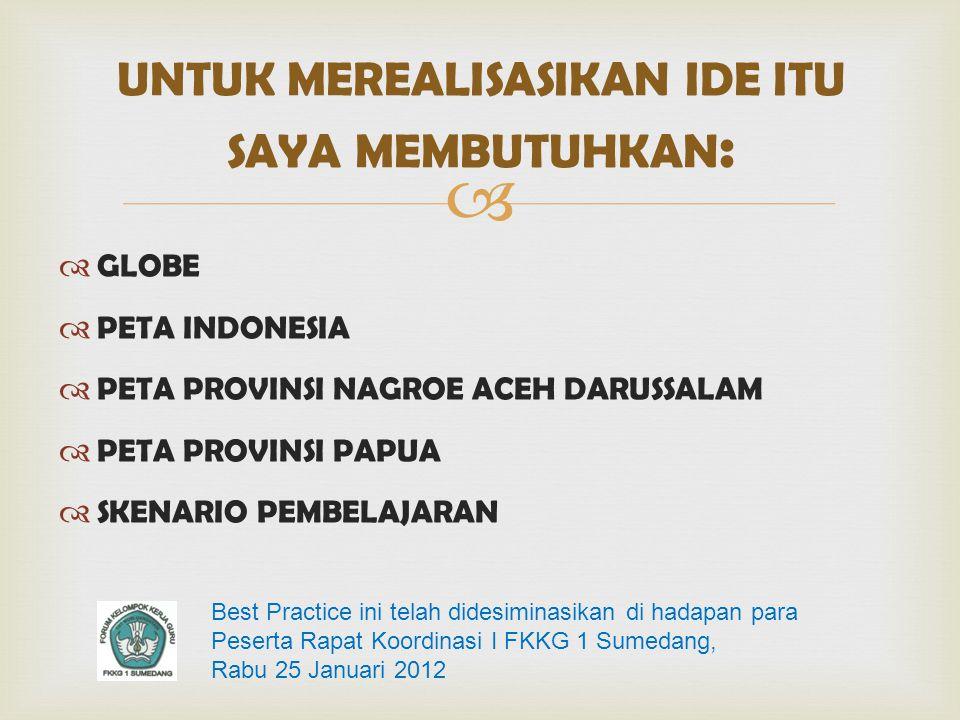   GLOBE  PETA INDONESIA  PETA PROVINSI NAGROE ACEH DARUSSALAM  PETA PROVINSI PAPUA  SKENARIO PEMBELAJARAN UNTUK MEREALISASIKAN IDE ITU SAYA MEMB