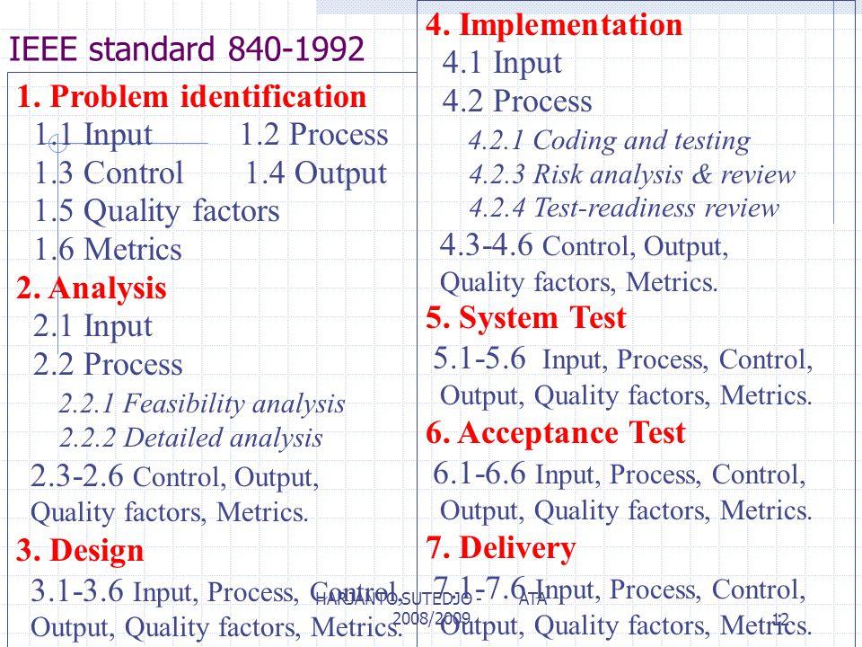 IEEE standard 840-1992 1. Problem identification 1.1 Input 1.2 Process 1.3 Control 1.4 Output 1.5 Quality factors 1.6 Metrics 2. Analysis 2.1 Input 2.