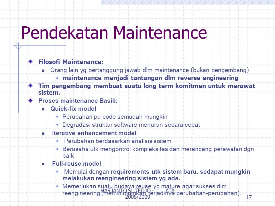 Kualitas Maintenance Metrics Maintenance: Number of lines of code under maintenance Person-months to perform various maintenance tasks Defect count 18 HARJANTO SUTEDJO - ATA 2008/2009