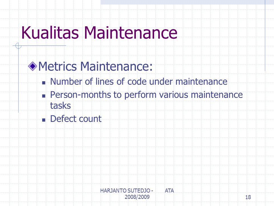 Kualitas Maintenance Metrics Maintenance: Number of lines of code under maintenance Person-months to perform various maintenance tasks Defect count 18 HARJANTO SUTEDJO - ATA 2008/2009