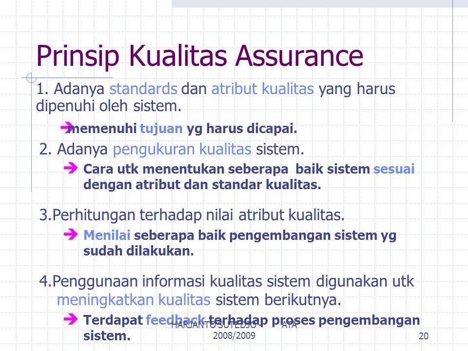 Prinsip Kualitas Assurance 1. Adanya standards dan atribut kualitas yang harus dipenuhi oleh sistem. è memenuhi tujuan yg harus dicapai. 2. Adanya pen