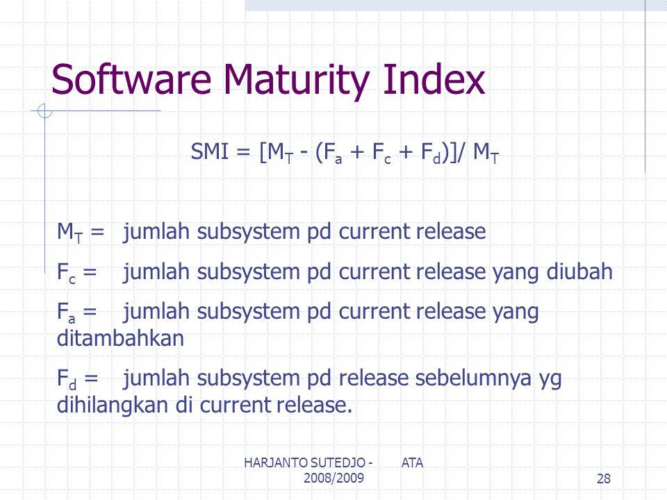 Software Maturity Index SMI = [M T - (F a + F c + F d )]/ M T M T =jumlah subsystem pd current release F c =jumlah subsystem pd current release yang diubah F a =jumlah subsystem pd current release yang ditambahkan F d =jumlah subsystem pd release sebelumnya yg dihilangkan di current release.