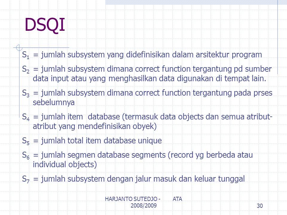 DSQI S 1 = jumlah subsystem yang didefinisikan dalam arsitektur program S 2 = jumlah subsystem dimana correct function tergantung pd sumber data input atau yang menghasilkan data digunakan di tempat lain.