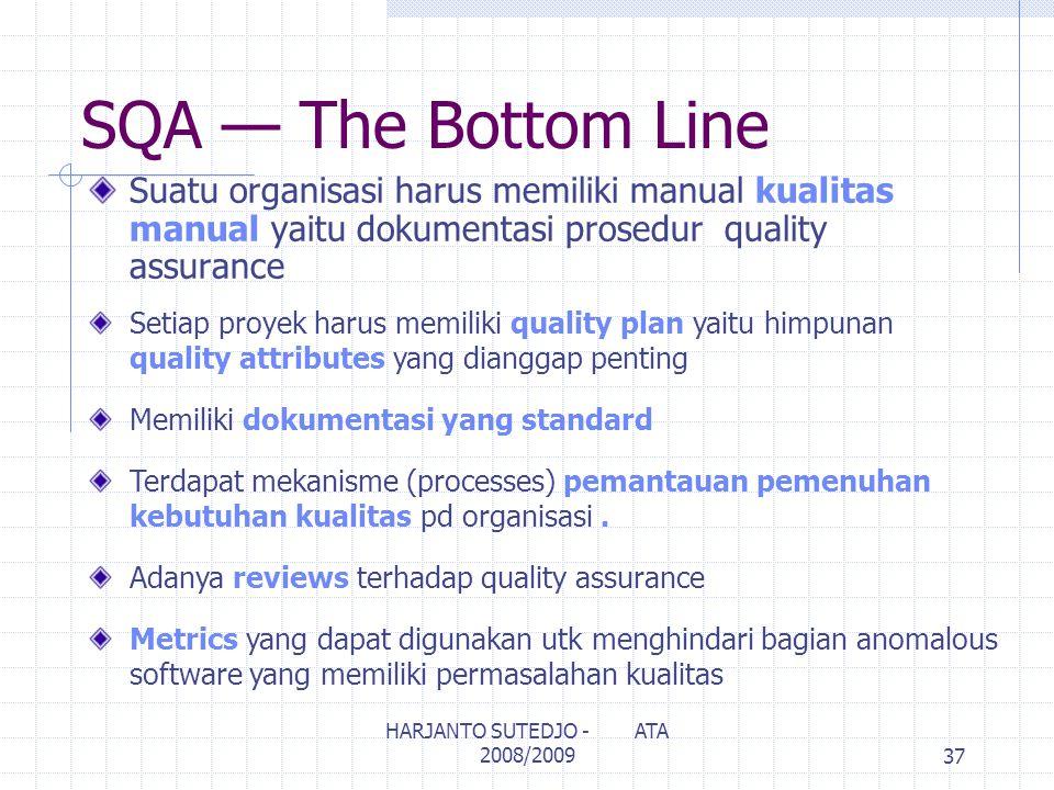SQA — The Bottom Line Setiap proyek harus memiliki quality plan yaitu himpunan quality attributes yang dianggap penting Memiliki dokumentasi yang standard Terdapat mekanisme (processes) pemantauan pemenuhan kebutuhan kualitas pd organisasi.
