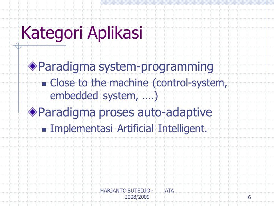 Kategori Aplikasi Paradigma system-programming Close to the machine (control-system, embedded system, ….) Paradigma proses auto-adaptive Implementasi Artificial Intelligent.