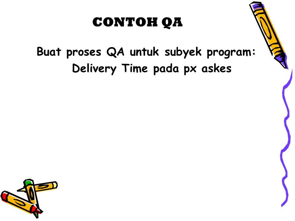 CONTOH QA Buat proses QA untuk subyek program: Delivery Time pada px askes