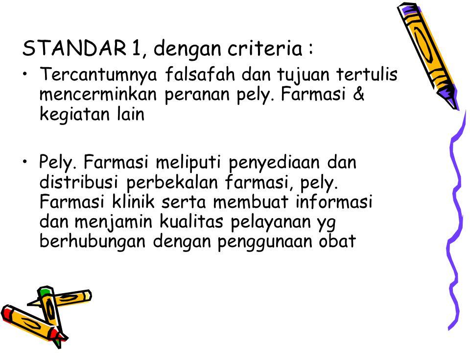 STANDAR 1, dengan criteria : Tercantumnya falsafah dan tujuan tertulis mencerminkan peranan pely. Farmasi & kegiatan lain Pely. Farmasi meliputi penye