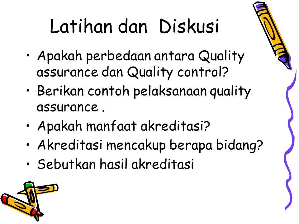Latihan dan Diskusi Apakah perbedaan antara Quality assurance dan Quality control? Berikan contoh pelaksanaan quality assurance. Apakah manfaat akredi