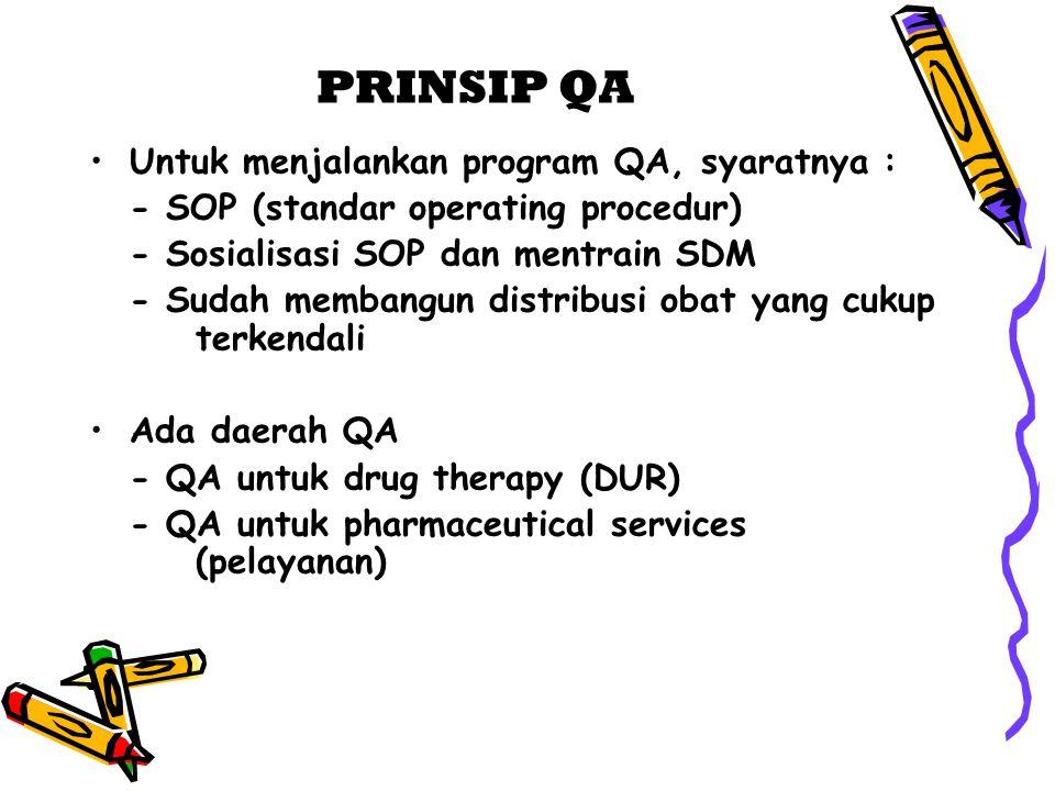 PRINSIP QA Untuk menjalankan program QA, syaratnya : - SOP (standar operating procedur) - Sosialisasi SOP dan mentrain SDM - Sudah membangun distribus