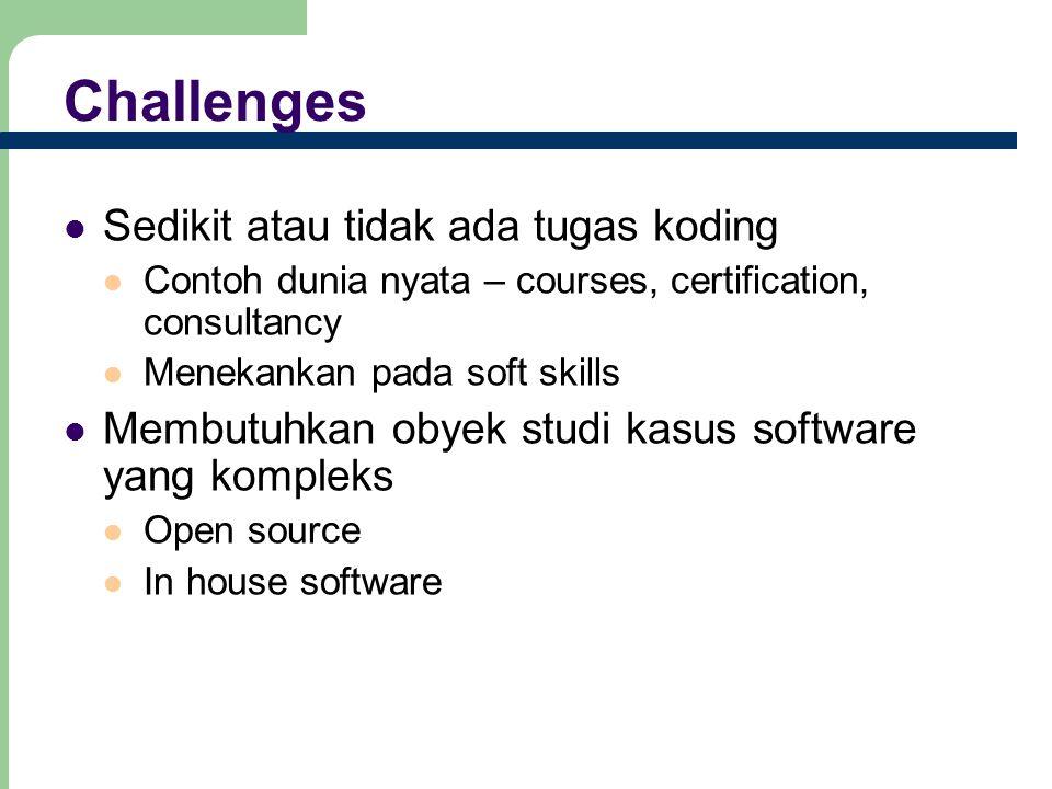 Challenges Sedikit atau tidak ada tugas koding Contoh dunia nyata – courses, certification, consultancy Menekankan pada soft skills Membutuhkan obyek studi kasus software yang kompleks Open source In house software