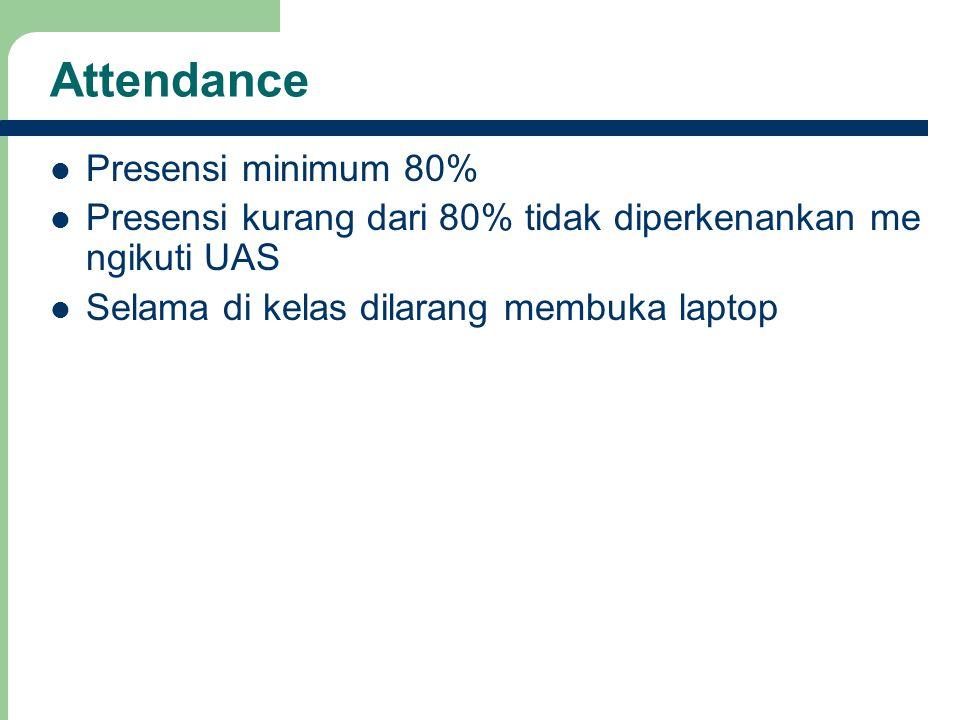 Attendance Presensi minimum 80% Presensi kurang dari 80% tidak diperkenankan me ngikuti UAS Selama di kelas dilarang membuka laptop